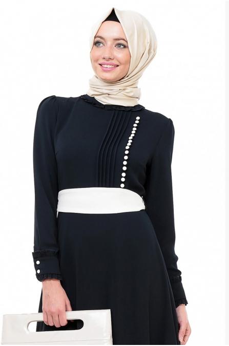 Nervür Ayrıntılı Elbise - Lacivert