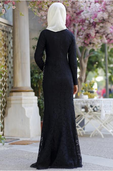 Cemile Nur - İnci Dantel Abiye - Siyah