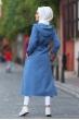 Kapüşonlu Trençkot - Mavi