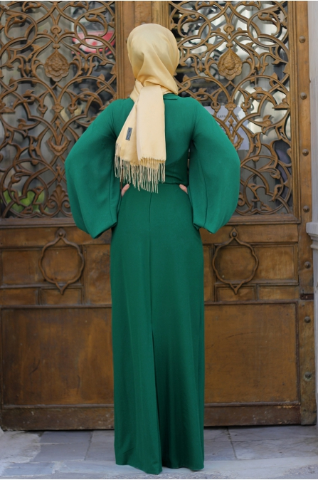 Dilek Etiz - Fiyonklu Elbise - Zümrüt