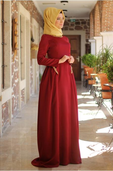 Matmazel Elbise - Bordo - Dilek Etiz