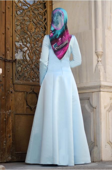 Sırma Taşlı Elbise - Bebe Mavisi - Dilek Etiz