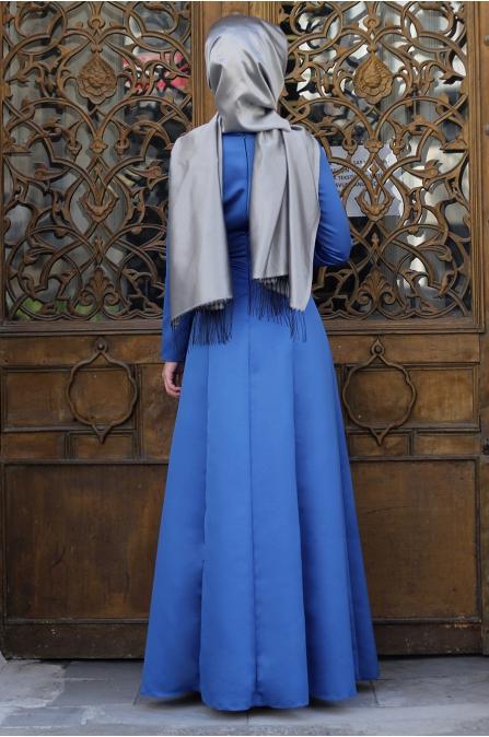 Sırma Taşlı Elbise - Mavi - Dilek Etiz