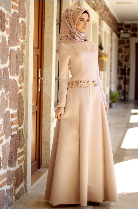 Sırma Taşlı Elbise - Pudra - Dilek Etiz