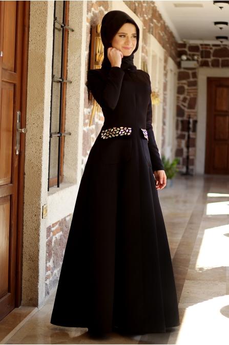 Sırma Taşlı Elbise - Siyah - Dilek Etiz
