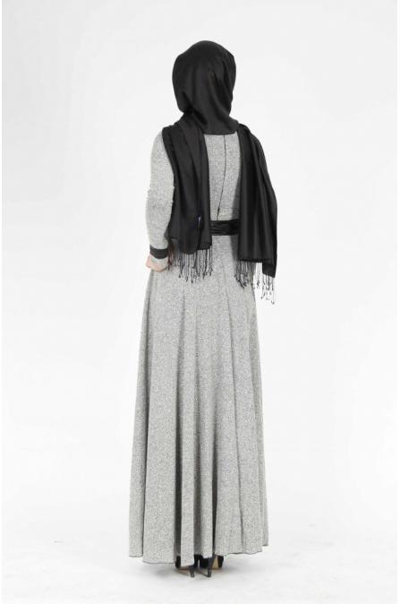 Bukle Gri Elbise Medine