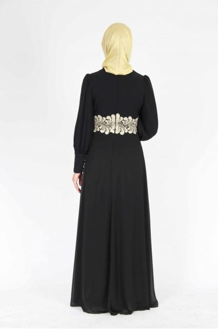 Belden Fistolu Siyah Elbise 162S