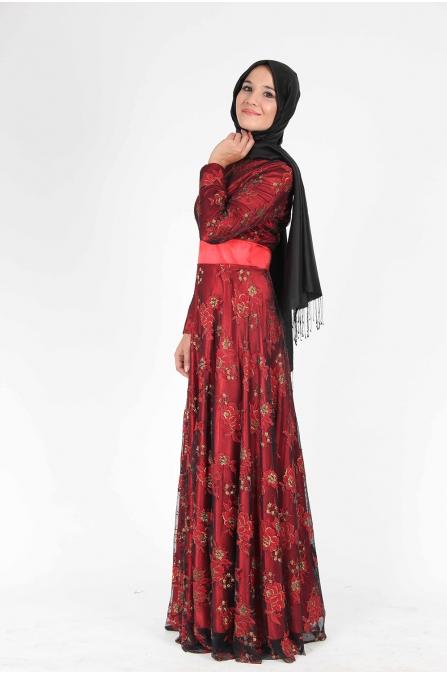 Dantel Kaplama Kırmızı Tesettür Elbise