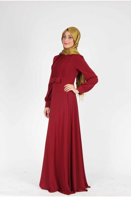 Fiyonklu Düz Kırmızı Elbise