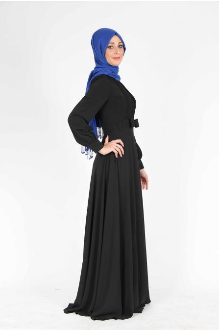 Fiyonklu Siyah Elbise