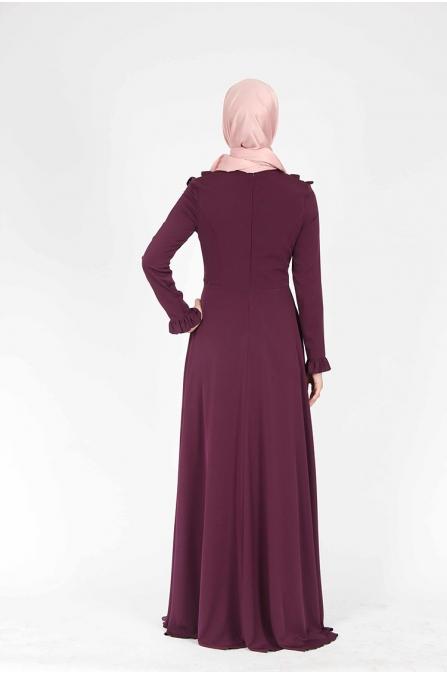 Zincir Detaylı Mürdüm Elbise
