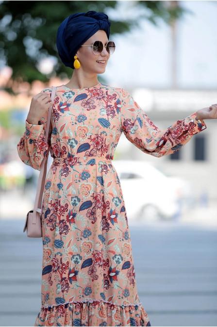 Çiçek Desenli Elbise - Fahrunnisa