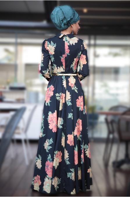 Irmak Elbise - Lacivert - Fahrunnisa