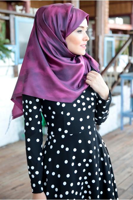 Fahrunnisa - Puantiyeli Elbise - Siyah Beyaz