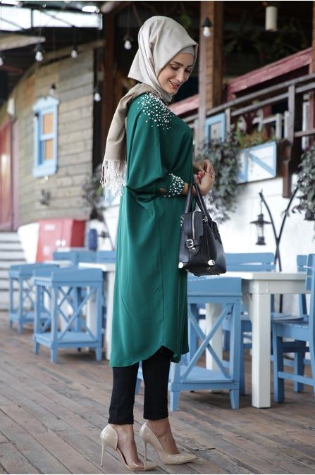 Fahrunnisa - İnci Tunik Zümrüt Yeşili