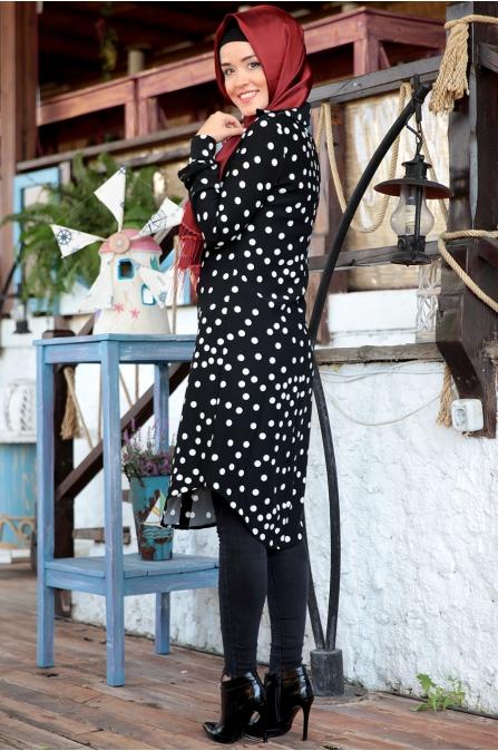 Fahrunnisa - Puantiyeli Tunik - Siyah Beyaz