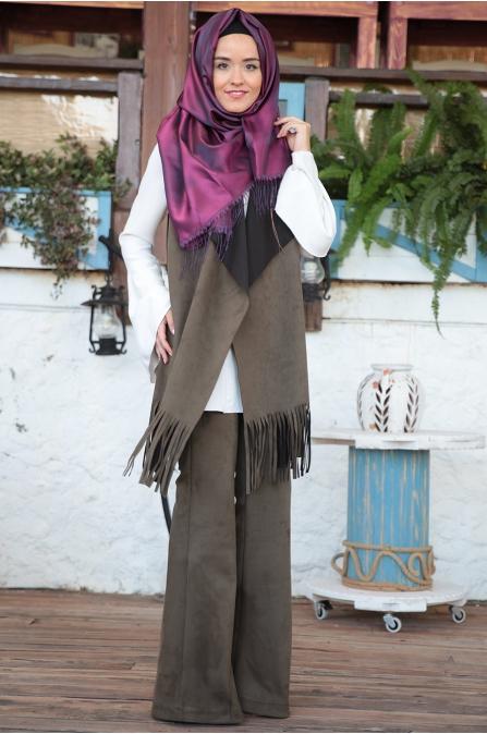 Fahrunnisa - Burçin Yelek Pantolon Takım - Haki