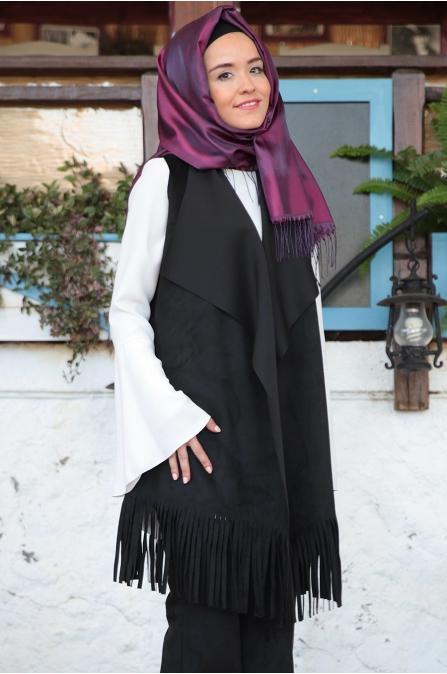Fahrunnisa - Burçin Yelek Pantolon Takım - Siyah