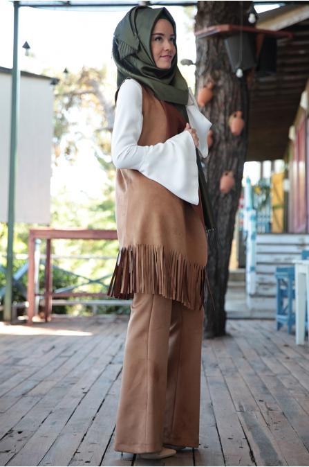 Fahrunnisa - Burçin Yelek Pantolon Takım - Tarçın