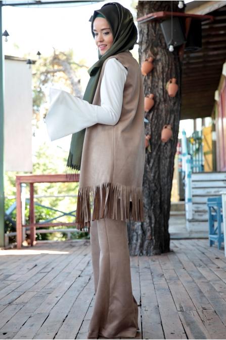 Fahrunnisa - Burçin Yelek Pantolon Takım - Vizon
