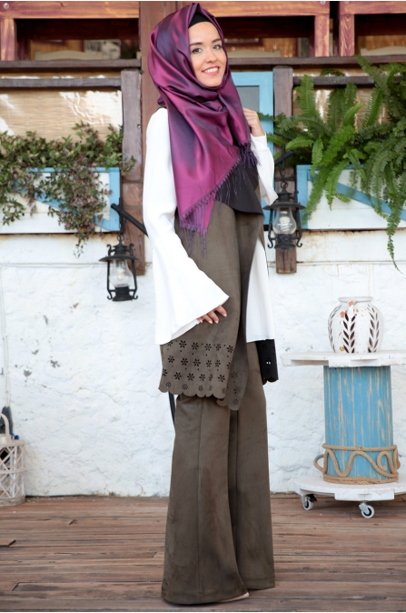 Fahrunnisa - Selvi Yelek Pantolon Takım - Haki