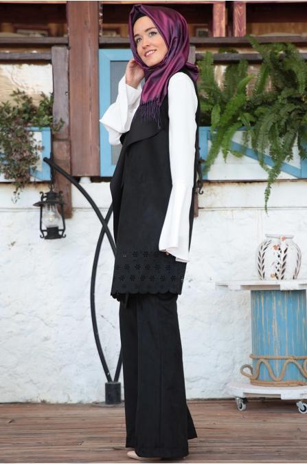 Fahrunnisa - Selvi Yelek Pantolon Takım - Siyah