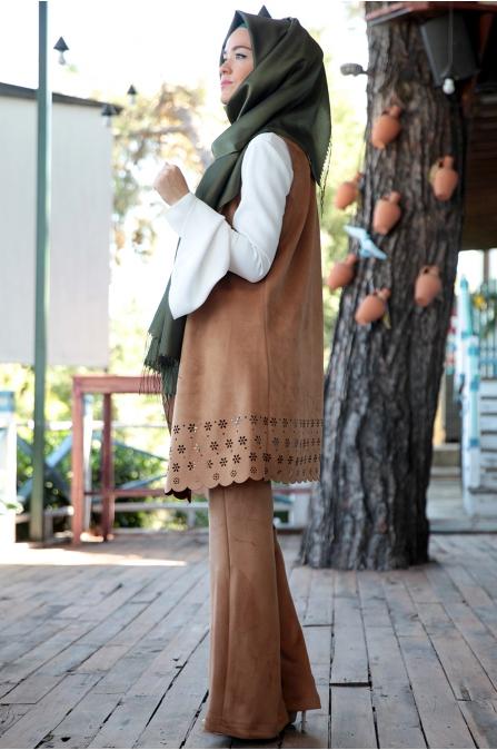Fahrunnisa - Selvi Yelek Pantolon Takım - Tarçın
