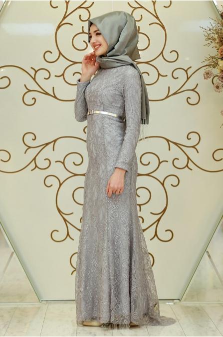 Fulya Abiye - Gri - Gamze Özkul