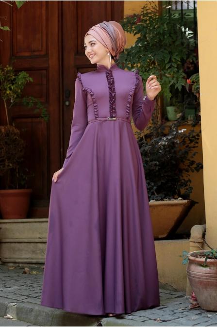 Fırfırlı Tesettür Elbise - Gül Kurusu - Gamze Özkul