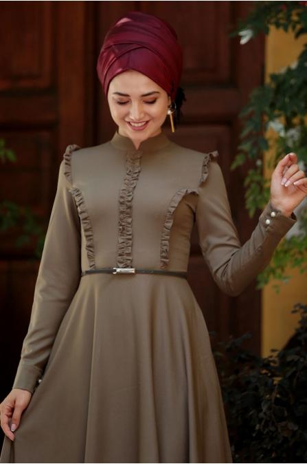 Fırfırlı Tesettür Elbise - Haki - Gamze Özkul