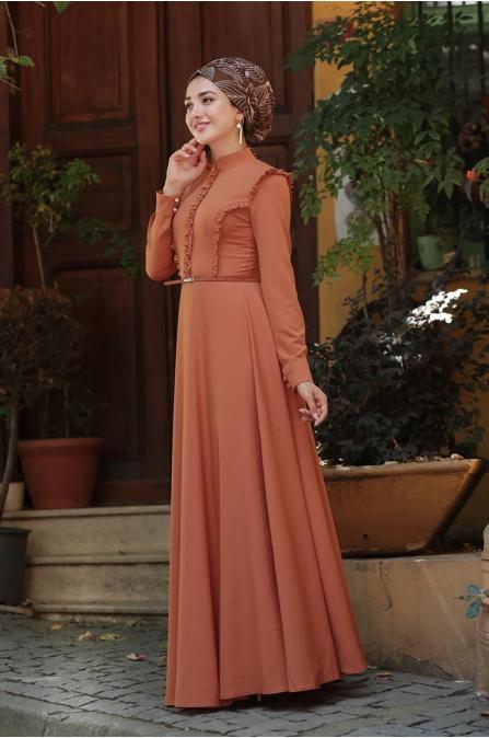 Fırfırlı Tesettür Elbise - Kiremit - Gamze Özkul