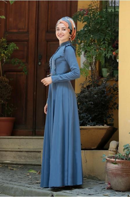 Fırfırlı Tesettür Elbise - Mavi - Gamze Özkul