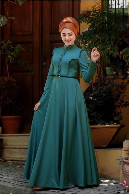Fırfırlı Tesettür Elbise - Petrol - Gamze Özkul