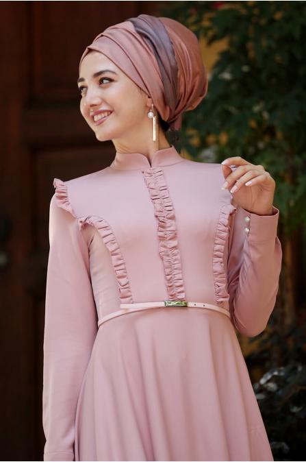 Fırfırlı Tesettür Elbise - Pudra - Gamze Özkul
