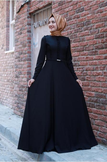 Fırfırlı Tesettür Elbise - Siyah - Gamze Özkul