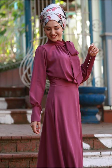 Fularlı Elbise - Fuşya - Gamze Özkul
