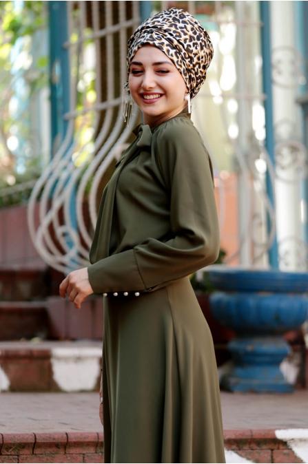 Fularlı Elbise - Haki - Gamze Özkul
