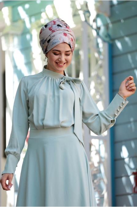 Fularlı Elbise - Mint - Gamze Özkul