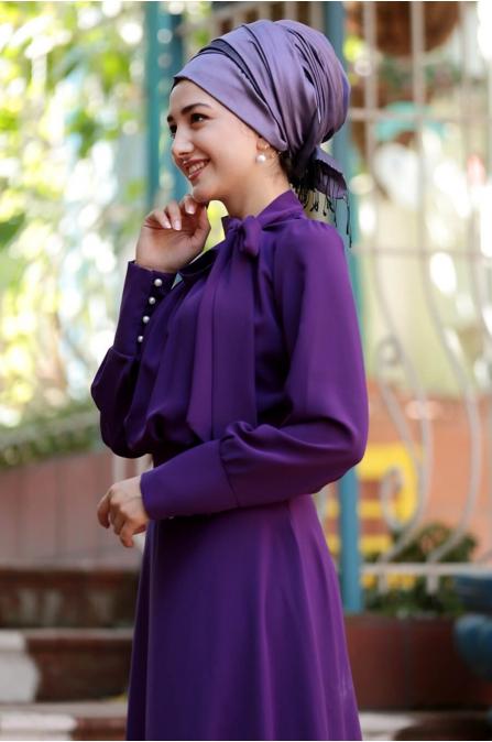 Fularlı Elbise - Mor - Gamze Özkul