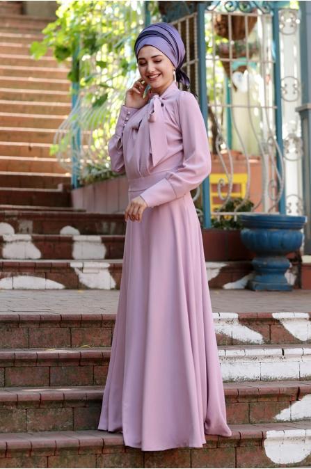 Fularlı Elbise - Pudra - Gamze Özkul
