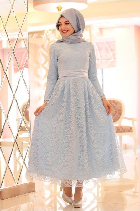 Mavi Dantel Elbise - Gamze özkul
