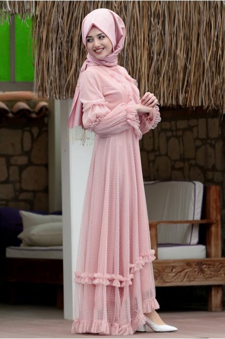 Petek Dantel Elbise Pudra - Gamze özkul