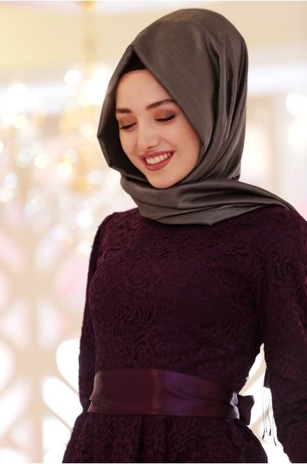 Rana Dantel Elbise - Mürdüm - Gamze Özkul