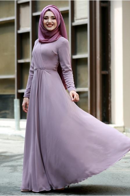 Şifon Büzgülü Elbise  - Açık Lila - Gamze Özkul