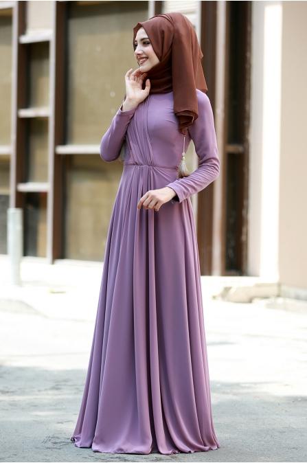 Şifon Büzgülü Elbise  - Koyu Lila - Gamze Özkul