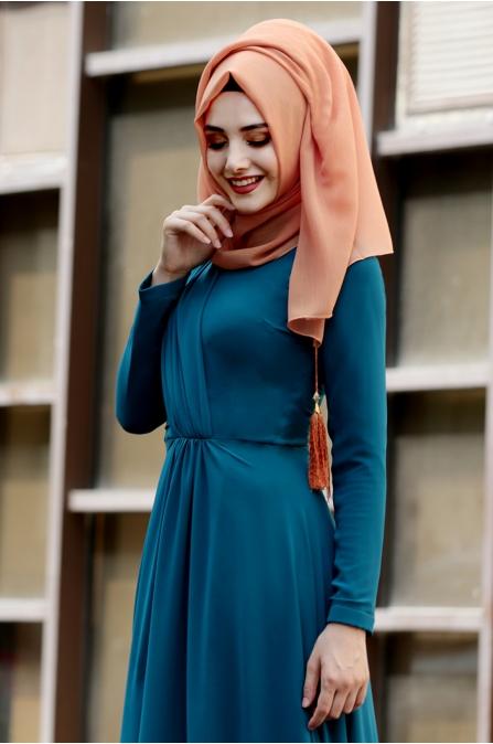 Şifon Büzgülü Elbise  - Petrol - Gamze Özkul