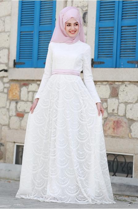Aysima Dantel Elbise - Ekru - Gamze Özkul
