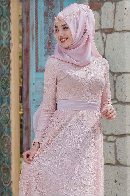 Aysima Dantel Elbise - Pudra - Gamze Özkul