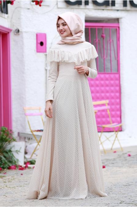 Vintage Elbise Bej - Gamze Özkul