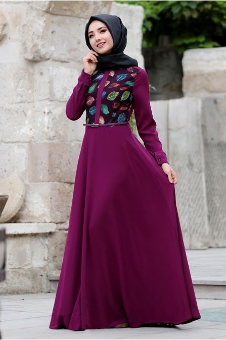 Yaprak Desenli Elbise - Fuşya - Gamze Özkul